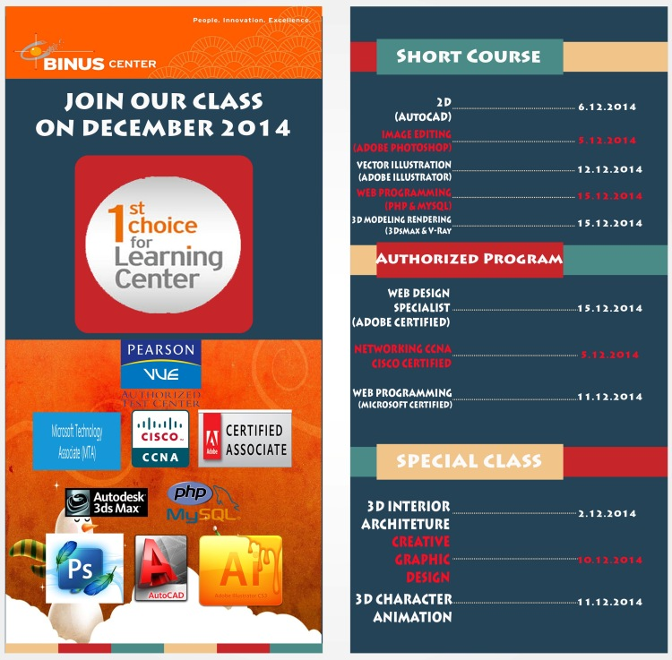 JOIN OUR CLASS ON DECEMBER 2014